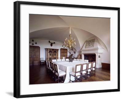 France, Chateau De Chatillon-En-Bazois Furnished Dining Room in Renaissance-Style--Framed Giclee Print