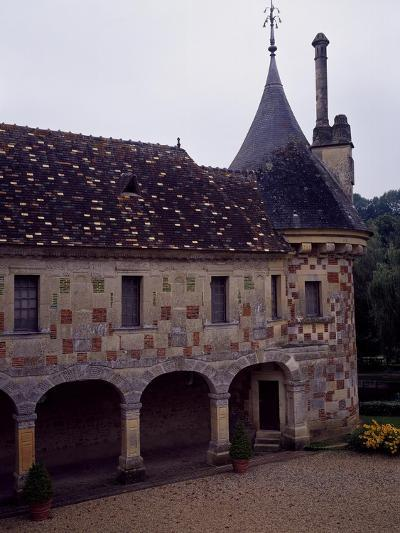 France, Chateau De Saint-Germain-De-Livet, Courtyard View--Giclee Print