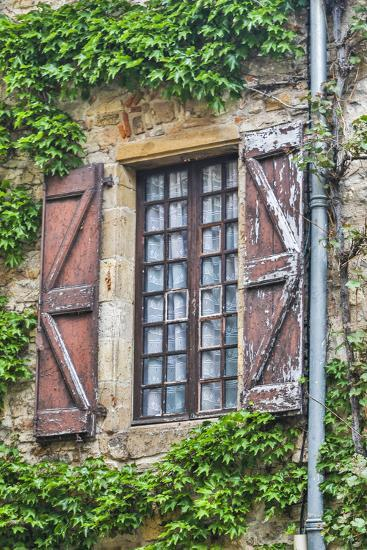 France, Cordes-sur-Ciel. Weathered shutters and window.-Hollice Looney-Photographic Print