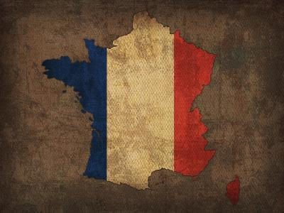 France Country Flag Map-Red Atlas Designs-Giclee Print