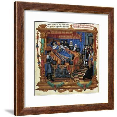 France, Death of King Louis XI, Miniature, 1524, from Memoires--Framed Giclee Print