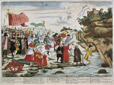 France, French Revolution, Caricature of Emigrants Crossing the Rhine--Giclee Print