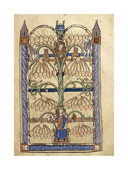France, Genealogical Tree of the Virgin Mary, Miniature from the Manuscript Speculum Virginae--Giclee Print