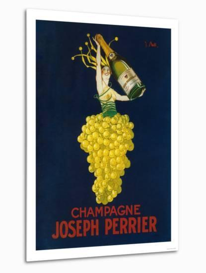 France - Joseph Perrier Champagne Promotional Poster-Lantern Press-Metal Print
