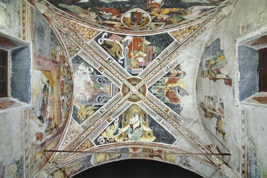 France, La Brigue, Vault of Notre-Dame Des Fontaines Chapel, Four Evangelists, 1452-Giovanni Battista Ernesto Basile-Giclee Print