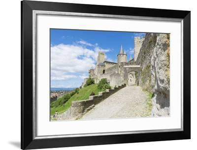 France, Languedoc-Roussillon. Chateau De Carcassonne. City Walls and Gates-Emily Wilson-Framed Photographic Print