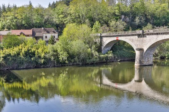 France, Lot River. Stone bridge over the Lot River.-Hollice Looney-Photographic Print