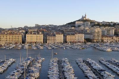 France, Marseille. Vieux Port with Basilique Notre Dame De La Garde-Kevin Oke-Photographic Print