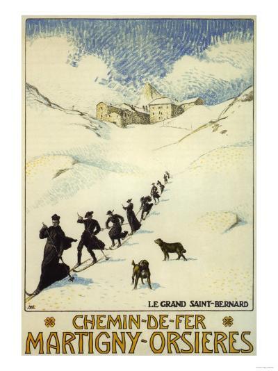 France - Monks Skiing atop the Great St. Bernard Pass Railroad Poster-Lantern Press-Art Print