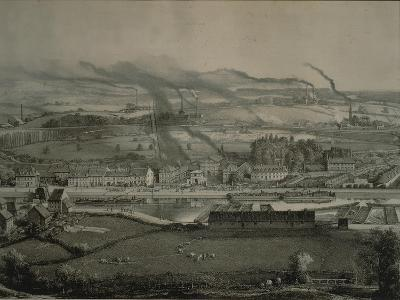 France, Montceau-Les-Mines, View of Montceau-Les-Mines, Mining City with Coal Seams, 1857--Giclee Print