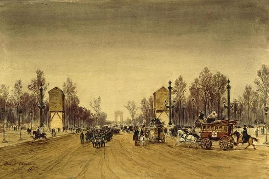 France Paris, Champs-Elysee in January, 1871-Edme-Emile Laborne-Giclee Print