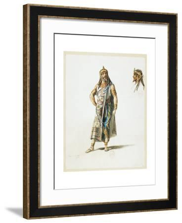 France, Paris, Costume Sketch for Amonasro in Aida for the Performance at Paris, Salle Garnier--Framed Giclee Print