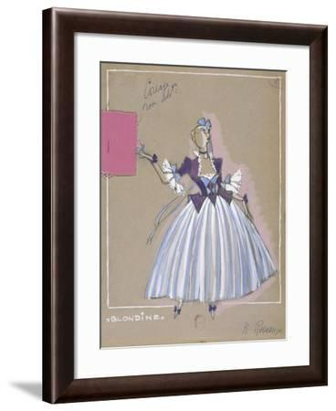 France, Paris, Costume Sketch for Blondine for Performance the Abduction from the Seraglio--Framed Giclee Print