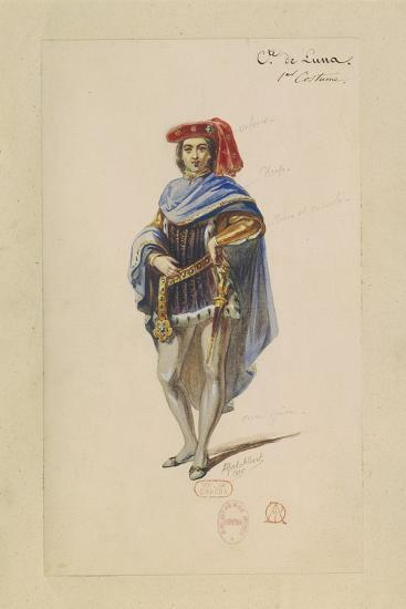 France, Paris, Costume Sketch for Count Di Luna in the Troubadour--Giclee Print