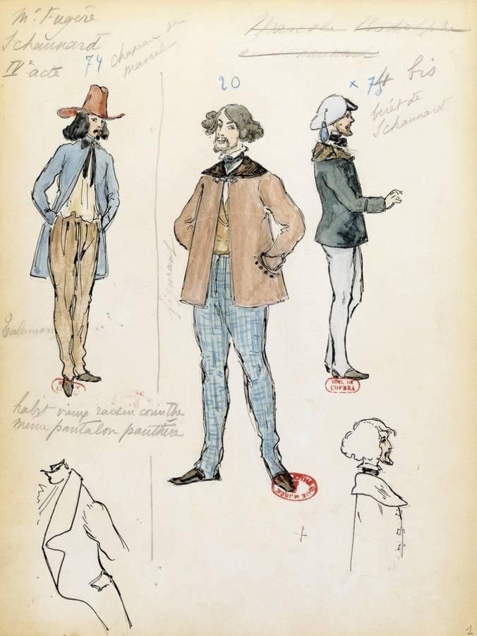 France, Paris, Costume Sketch for Musician Schaunard in Opera La Boheme by  Giacomo Puccini Giclee Print by | Art com