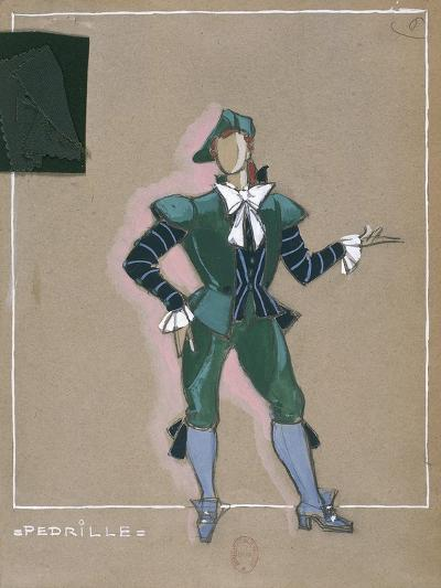 France, Paris, Costume Sketch for Pedrillo for Performance the Abduction from the Seraglio--Giclee Print
