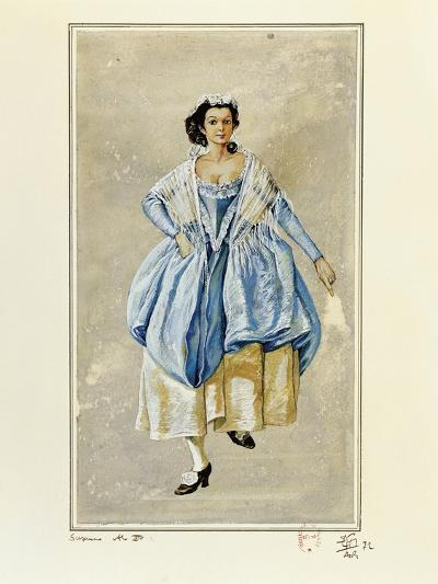 France, Paris, Costume Sketch for Susanna for Performance the Marriage of Figaro--Giclee Print