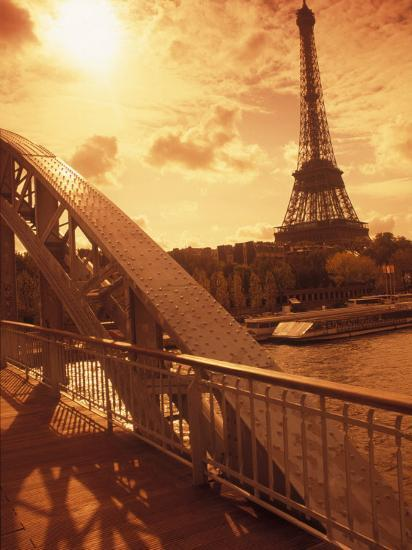 France, Paris, Eiffel and Passerelle-Silvestre Machado-Photographic Print