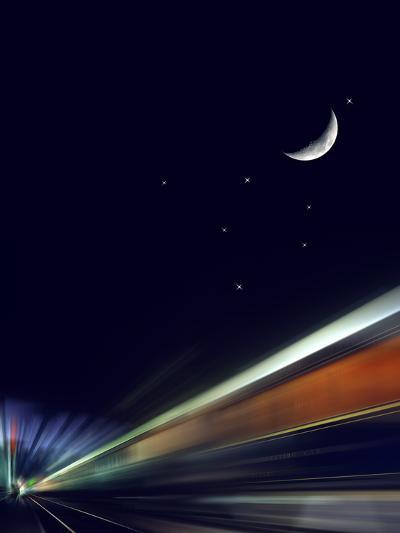 France, Paris, Gare De L'Est, Passenger Train, Sleeping Car, Moon, Stars, Blur-Harald Schšn-Photographic Print