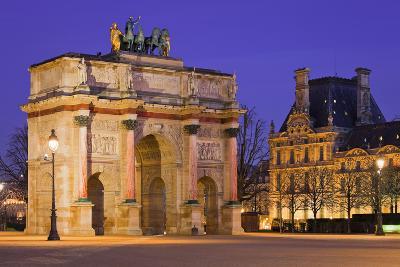 France, Paris, Ile De France, Arc De Triomphe Du Carrousel, Lighting, Evening-Rainer Mirau-Photographic Print