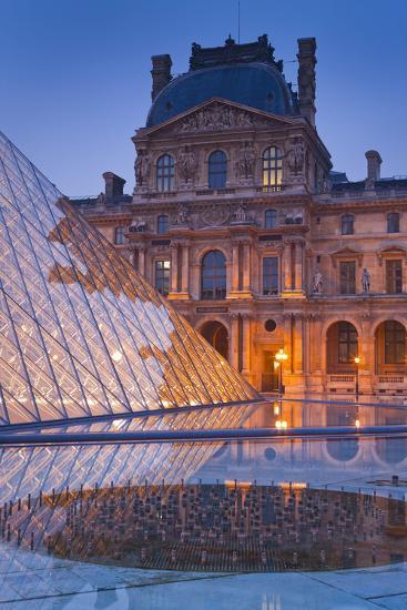 France, Paris, Ile De France, Louvre, Dusk, Pyramid-Rainer Mirau-Photographic Print