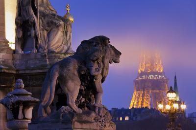 France, Paris, Ile De France, Pont Alexandre Iii, Eiffel Tower, Street Lamps, Evening-Rainer Mirau-Photographic Print