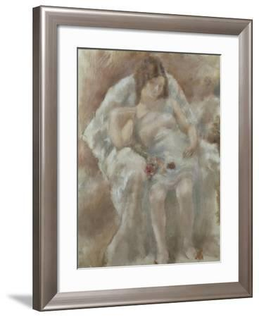 France, Paris, Sitting Girl with Flowers, 1929--Framed Giclee Print