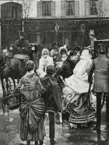 France. Paris. Street Scene. Bourgeois Family Boarding a Horse Carriage., 1864