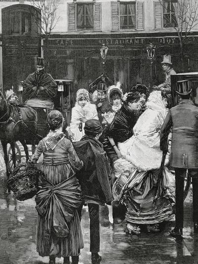 France. Paris. Street Scene. Bourgeois Family Boarding a Horse Carriage., 1864--Giclee Print
