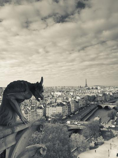France, Paris, View from the Cathedrale Notre Dame Cathedral with Gargoyles-Walter Bibikow-Photographic Print