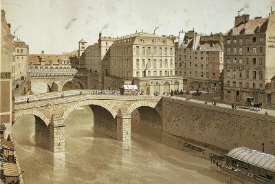 France, Paris, View of Petit Pont, Place Du Petit Pont and Hotel Dieu on Ile De La Cite, 1830--Giclee Print