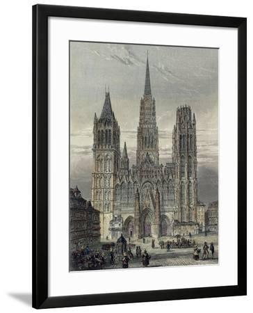 France, Paris, View of the Cathedral in Rouen--Framed Giclee Print