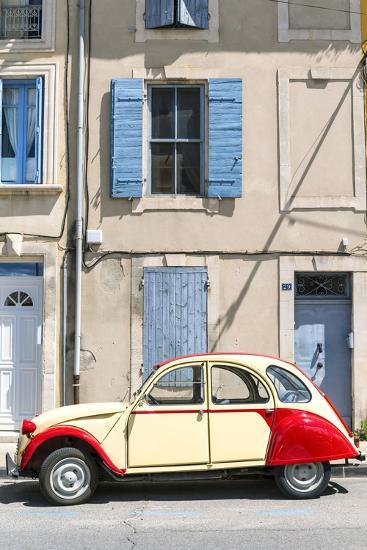 France, Provence Alps Cote D'Azur, Saint Remy De Provence. Street View with Old Fashioned 2Cv Car-Matteo Colombo-Photographic Print