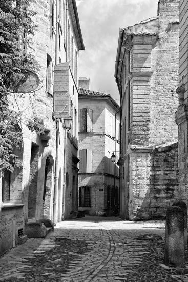 France Provence B&W Collection - Typical Street Scene IV - Uzès-Philippe Hugonnard-Photographic Print