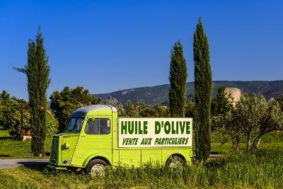 France, Provence, Vaucluse, Coustellet, Olive Mill, Pickup Van Citroen Type H, Advertising Vehicle-Udo Siebig-Photographic Print