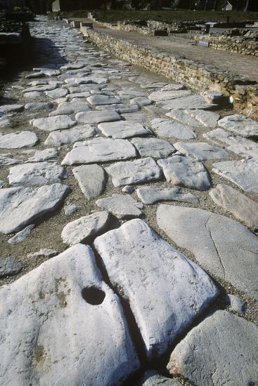 France, Rhone-Alpes, Roman Colony St-Romain-En-Gal, Stone Paved Road--Giclee Print