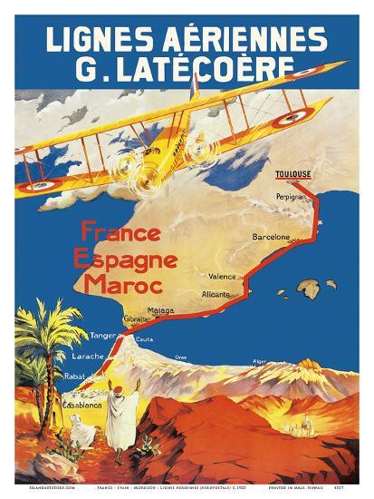 France - Spain - Morocco - Lignes Aeriennes (Aéropostale)-Pacifica Island Art-Art Print