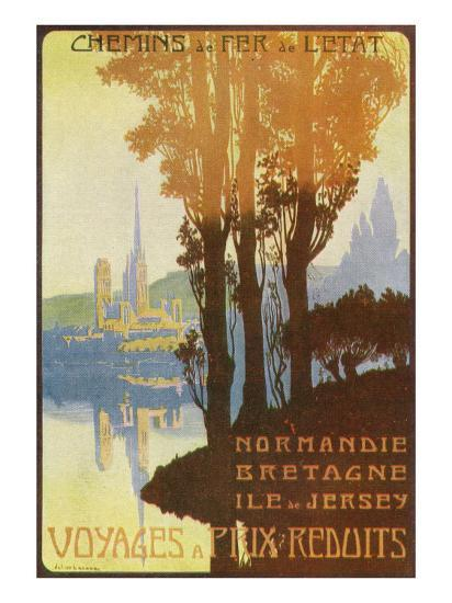 France - State Railway Promo for Normandy, Brittany, and Isle of Jersey, c.1920-Lantern Press-Art Print