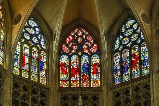 France, Toulouse. Cathedral of St. Etienne stained glass windows.-Hollice Looney-Photographic Print