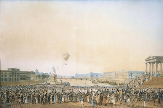 France, Versailles, Arrival of Louis XVIII, the Crossing of the Pont Neuf--Giclee Print