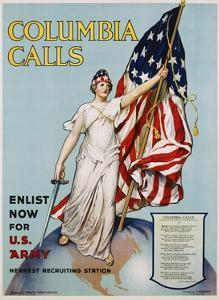 Columbia Calls Recruitment Poster by Frances Adams Halsted and V. Aderente