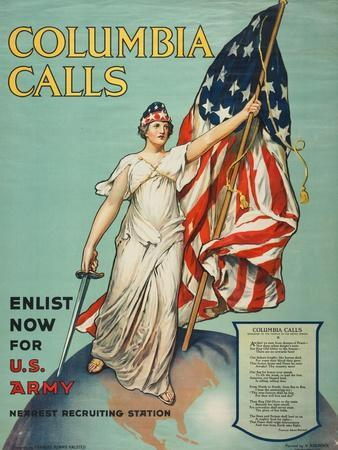 """""""Columbia Calls: Enlist Now For the U.S. Army"""", 1916"""