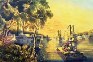 The Mississippi in the Time of Peace, Pub. by Currier and Ives, New York, 1865 by Frances Flora Bond Palmer