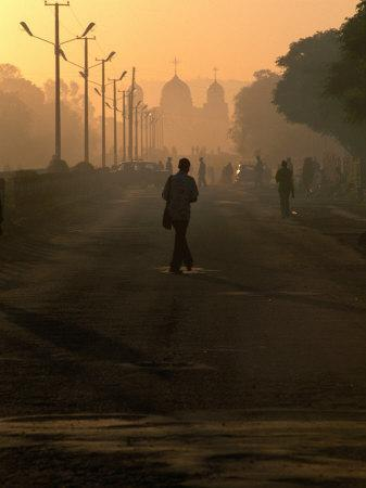 People on Their Way to Work, with St. Gabriel's Church in Background, Awasa, Ethiopia