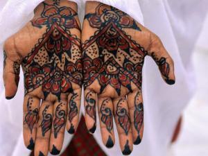 Person Displaying Henna Hand Tattoos, Djibouti, Djibouti by Frances Linzee Gordon