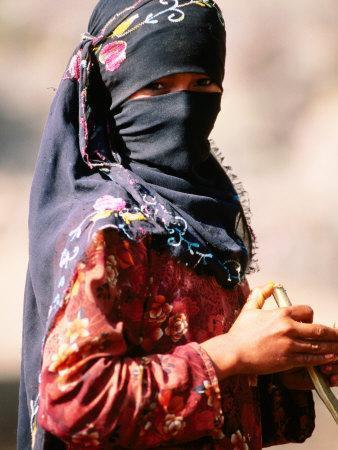Portrait of Muslim Woman in Headscarf, Wadi Surdud, Yemen