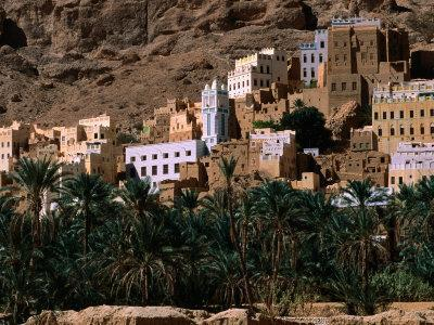 Typical Hadramawt Village with Date Plantation in Foreground, Wadi Daw'an, Yemen