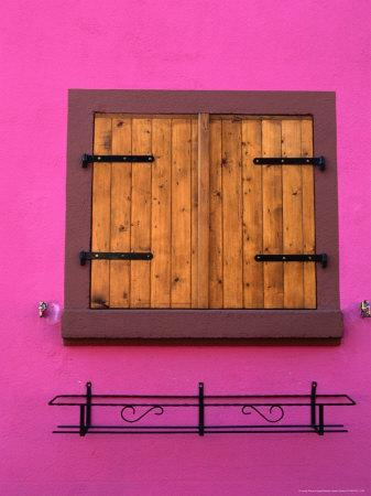 Window of Brightly Painted Alsatian House, France