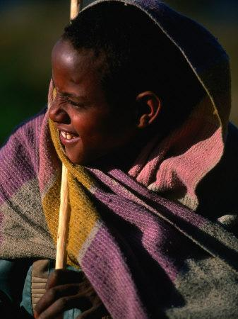 Young Shepherd Boy in Highlands, Early Morning, Simien Mountains National Park, Ethiopia