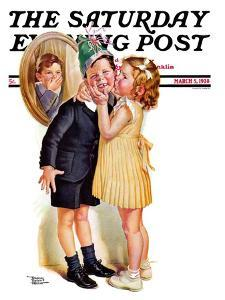 """""""Birthday Kiss,"""" Saturday Evening Post Cover, March 5, 1938 by Frances Tipton Hunter"""
